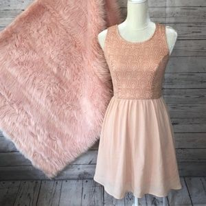 Alt. B | Pink Lace Back Bow Dress -